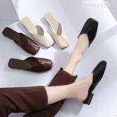 半拖鞋女夏季新款方頭平底鞋包頭韓版學生外穿復古百搭奶奶鞋春季特賣