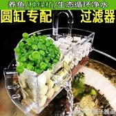 圓形玻璃魚缸過濾器小型三合一上置過濾盒陶瓷缸滴流盒瀑布靜音凈  (橙子精品)