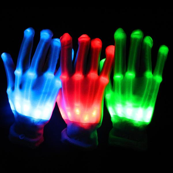 網紅道具 rave蹦迪電音節裝備酒吧表演發光手套LED七彩變色手套手掌拍針織『快速出貨』