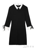 黑色連身裙女裝春裝針織內搭打底裙中長款赫本風小黑裙春 【全館免運】