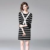 洋裝-中袖圓領條紋喇叭袖針織女連身裙73of84【巴黎精品】