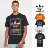 【GT】Adidas Originals 黑白橘 短袖T恤 純棉 運動 休閒 上衣 短T 愛迪達 三葉草 Logo