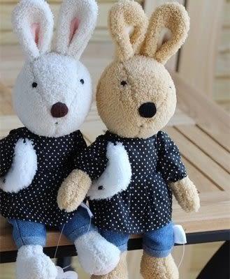 【發現。好貨】日本正品 le sucre 砂糖兔 法國兔娃娃  (牛仔褲30公分)