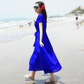 夏季雪紡洋裝海邊度假長裙海南三亞中年媽媽減齡紅色短袖沙灘裙 【全館免運】