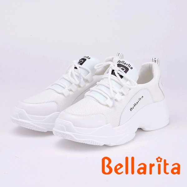bellarita.拼接飛織透氣百搭休閒運動鞋(9401-15白色)