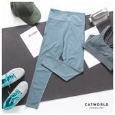 Catworld 基本款純色線條提臀彈力運動褲【12002031】‧S-XL