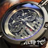 男士防水手錶六針多功能皮帶錶時尚潮流大錶盤手錶男領翔手錶