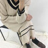 ZUCAS~(HL-566)V領長款針織連衣裙女過膝打底裙寬鬆套頭毛衣長裙洋裝