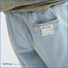 褲子  日曆布標抽繩牛仔短褲  單色-C...