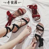 2018新款夏季仙女chic涼鞋女平底百搭韓版學生女生羅馬交叉綁帶鞋【奇貨居】