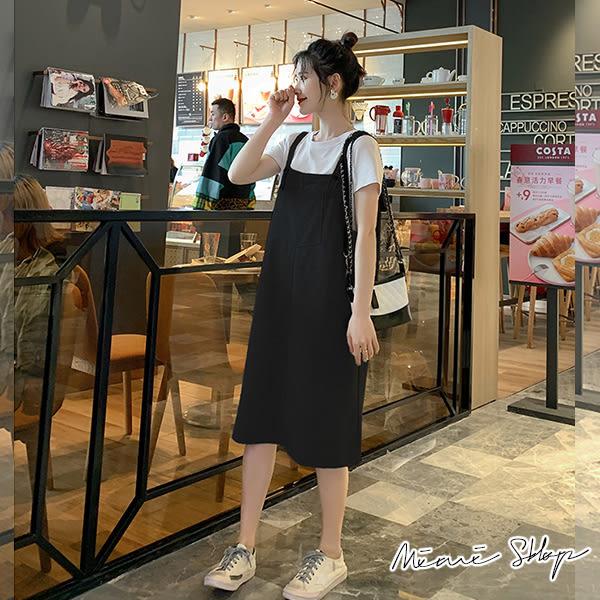 孕婦裝 MIMI別走【P31352】簡單日常 實穿兩件式 口袋吊帶裙+上衣 孕婦洋裝 套裝