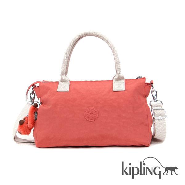 粉橘素面手提側背包-大