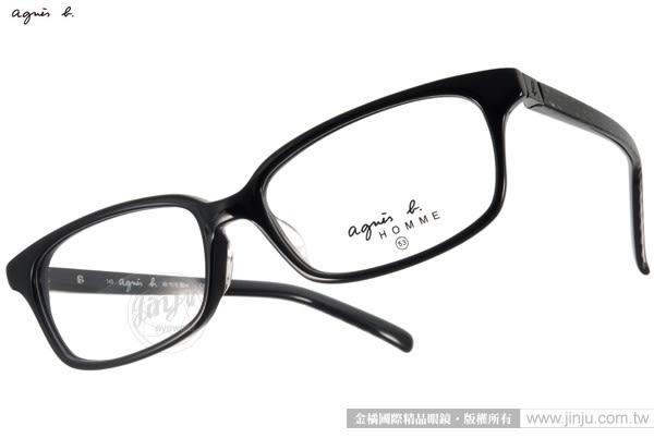 agnes b.光學眼鏡 AB7010 BCA (黑) 個性網紋LOGO設計款 # 金橘眼鏡