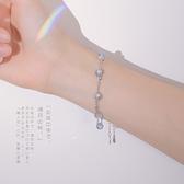 純銀雙層月光石手鏈女生超仙月光夏ins小眾設計手飾 錢夫人小舖