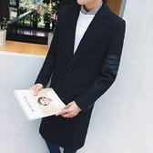 風衣外套-時尚簡約衣袖四條槓翻領中長版毛呢男大衣73ip63【時尚巴黎】