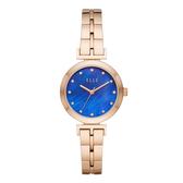 ELLE  ODEON系列晶鑽貝殼面腕錶-藍X玫瑰金
