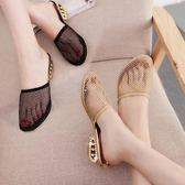 包頭拖鞋女夏中跟時尚外穿韓版簡約防滑懶人涼拖鏤空透氣網紗女鞋 薔薇時尚