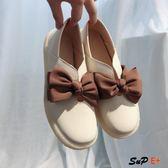 娃娃鞋 豆豆鞋 平底單鞋 牛筋軟底 小皮鞋 蝴蝶結 娃娃 百搭 E家人