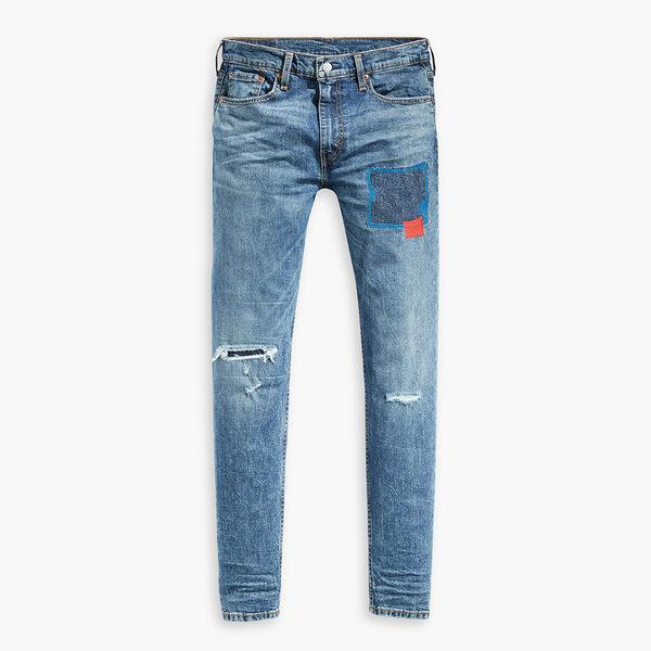 [買1送1]Levis 男款 上寬下窄 / 512 Taper 低腰修身牛仔長褲 / 破壞補丁
