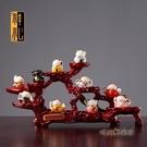 陶瓷發財貓擺件小號店鋪開業禮品收銀台客廳裝飾創意發財貓「時尚彩紅屋」