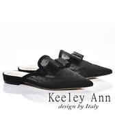 ★2018春夏★Keeley Ann高貴質感~水鑽方形蝴蝶結透膚網紗點點真皮軟墊尖頭穆勒鞋(黑色) -Ann系列