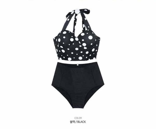 泳裝 比基尼 泳衣 點點 聚攏 露腰 美背 性感 繞頸 綁帶 兩件套 泳裝【SF1916】 BOBI  11/29