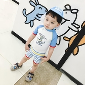 韓國INS兒童泳衣男童寶寶條紋游泳衣 小孩防曬防紫外線嬰兒泳衣潮