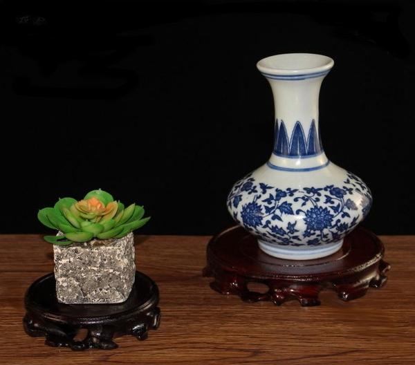 紅木圓形木座 豼貅金蟾龍龜玉石茶具盆景花瓶擺飾專用底座木座木托木盤(直徑12公分)