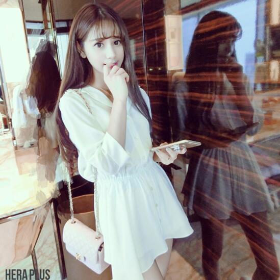 襯衫洋裝 素色裙子 修身連身裙女S-XL學生雪紡氣質性感顯瘦襯衫A字短裙G711.303 依品國際