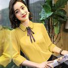 娃娃領七分袖春夏襯衫上衣(不含領結)[8X228-PF]美之札