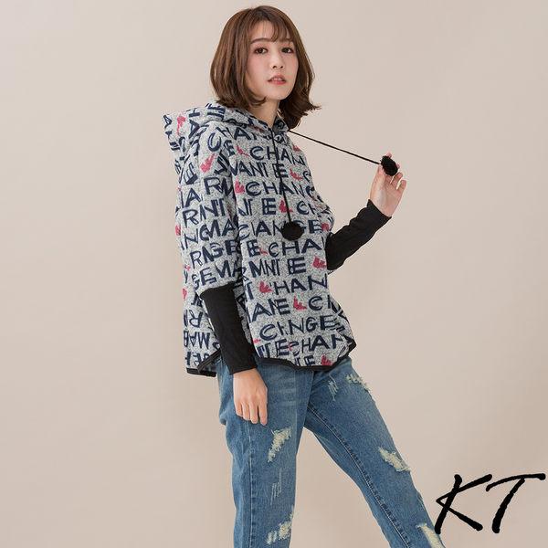 蝙蝠袖厚針織連帽上衣(英文字)M-L【KatieQ】