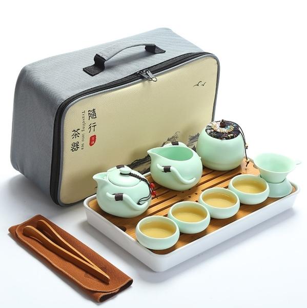 [12件組] 陶瓷旅行茶具組 攜帶式茶具 陶瓷茶具 泡茶組 茶壺 茶杯 登山 露營【RS1069】