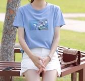圓領清水藍色短袖T恤女年夏季新款純棉潮女裝上衣超火夏裝 糖糖女屋