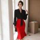 歐媛韓版 赫本套裝女秋冬新款氣質長袖韓國襯衫 修身中長款荷葉邊半身裙