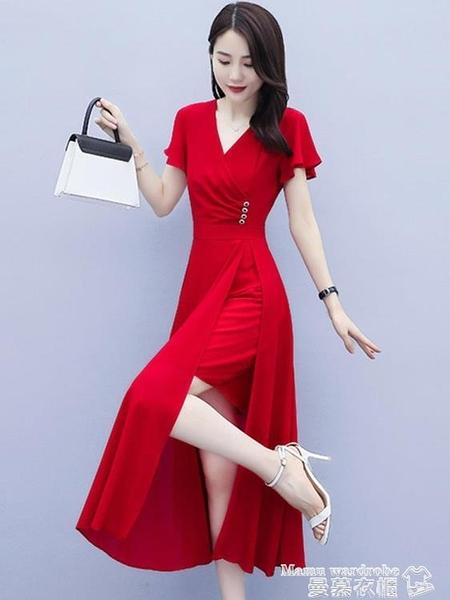 雪紡洋裝 純色雪紡連身裙女2021新款夏季修身收腰顯瘦女神范減齡洋氣長裙子 曼慕