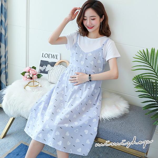 孕婦裝 MIMI別走【P521046】清新甜美 小愛心假兩件吊帶裙 洋裝 孕婦裙