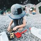 透氣網眼防曬遮陽帽 盆帽 漁夫帽 大童 有防風繩 可收折 帽子 圓帽 防曬 橘魔法 現貨 童帽 遮陽帽