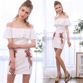 天使波堤~LC0256 ~平口荷葉邊花朵刺繡連身裙收腹包臀洋裝共二色情趣內睡衣 賣場可