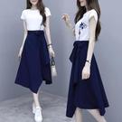 兩件式洋裝 夏裝2021款連身裙女時尚休閒流行裙女神范套裝短袖T恤百搭兩件套 薇薇