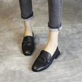 頭層牛皮低跟鞋 方頭蝴蝶結方跟鞋 橡膠底淺口鞋-標準碼-夢想家-0227