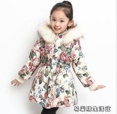 棉衣外套童裝新款冬裝中長款碎花棉服