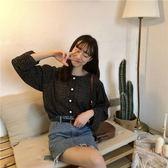 新款韓版chic甜美顯瘦小清新波點透視長袖襯衫女上衣襯衣兩穿