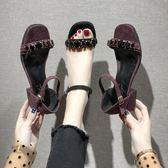 高跟涼鞋女一字帶百搭羅馬鞋外穿粗跟復古晚晚鞋仙女風 名購居家