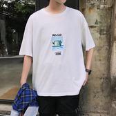 男短t恤 韓版T恤 男t恤 韓版上衣 寬松休閒印花短袖T恤男裝【非凡上品】q1051
