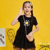 女童連身裙夏裝短袖兒童學院風裙子中大童洋氣公主裙【時尚大衣櫥】