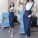 VK精品服飾 韓系時尚牛仔裙修身背帶裙單品無袖裙裝