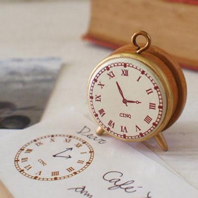 日本Decole 複古時鐘造型木質印章