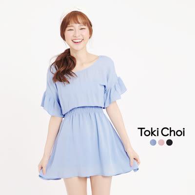東京著衣-背部鏤空造型縮腰荷葉袖洋裝-XS.S.M(6016327)