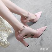 夏中大尺碼粗跟高跟鞋2018新款扣帶尖頭淺口單鞋女 BF3268【旅行者】