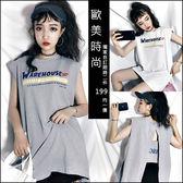 克妹Ke-Mei【AT46166】WAREH獨家自訂 字母圖印背後開叉摟空T恤洋裝